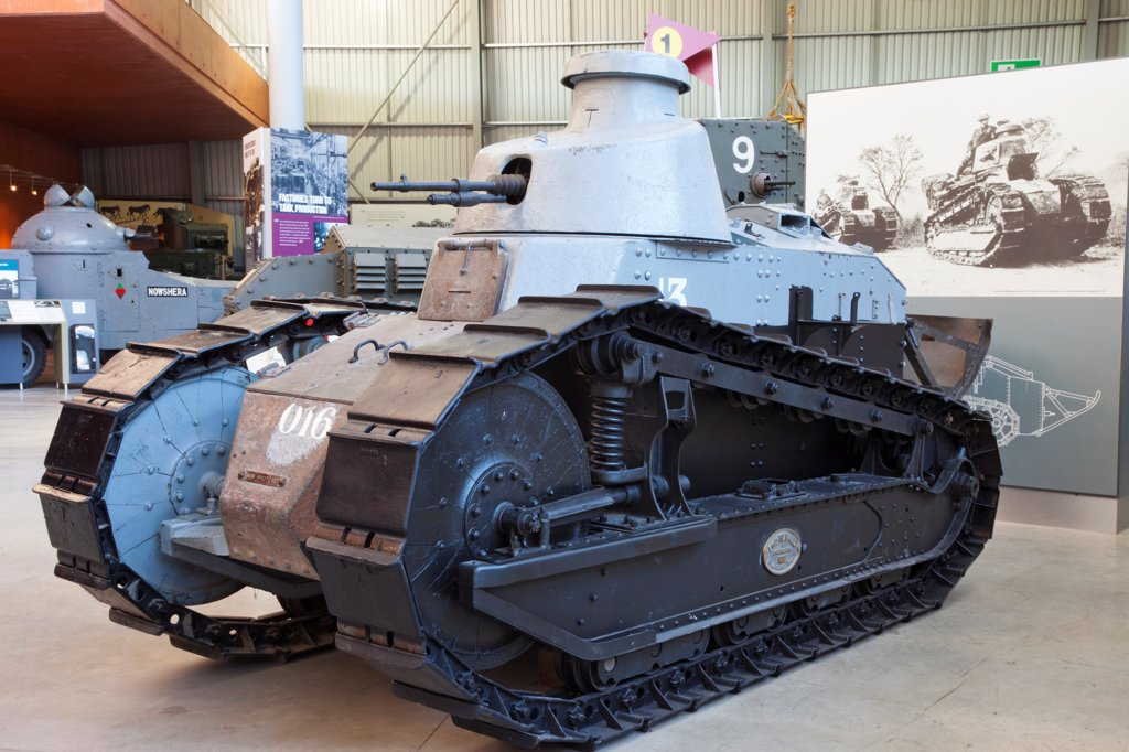 Stock Photo: 1606-192025 England,Devon,Bovington,The Tank Museum,The Renault FT-17 Tank