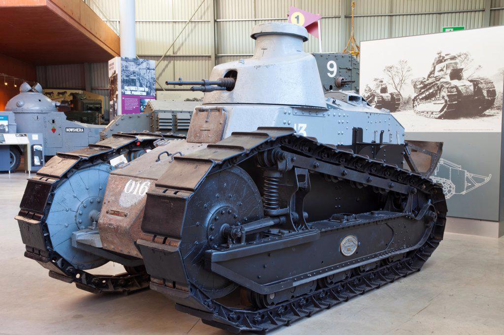 England,Devon,Bovington,The Tank Museum,The Renault FT-17 Tank : Stock Photo