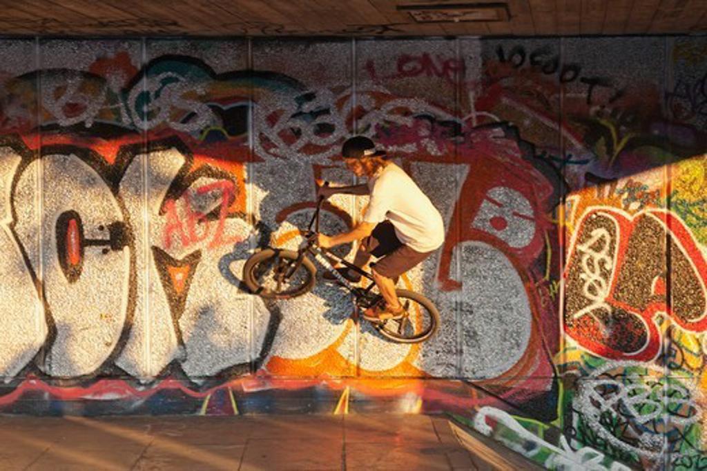 Stock Photo: 1606-192245 England,London,Southwark,South Bank,Southbank Centre,BMX Biker