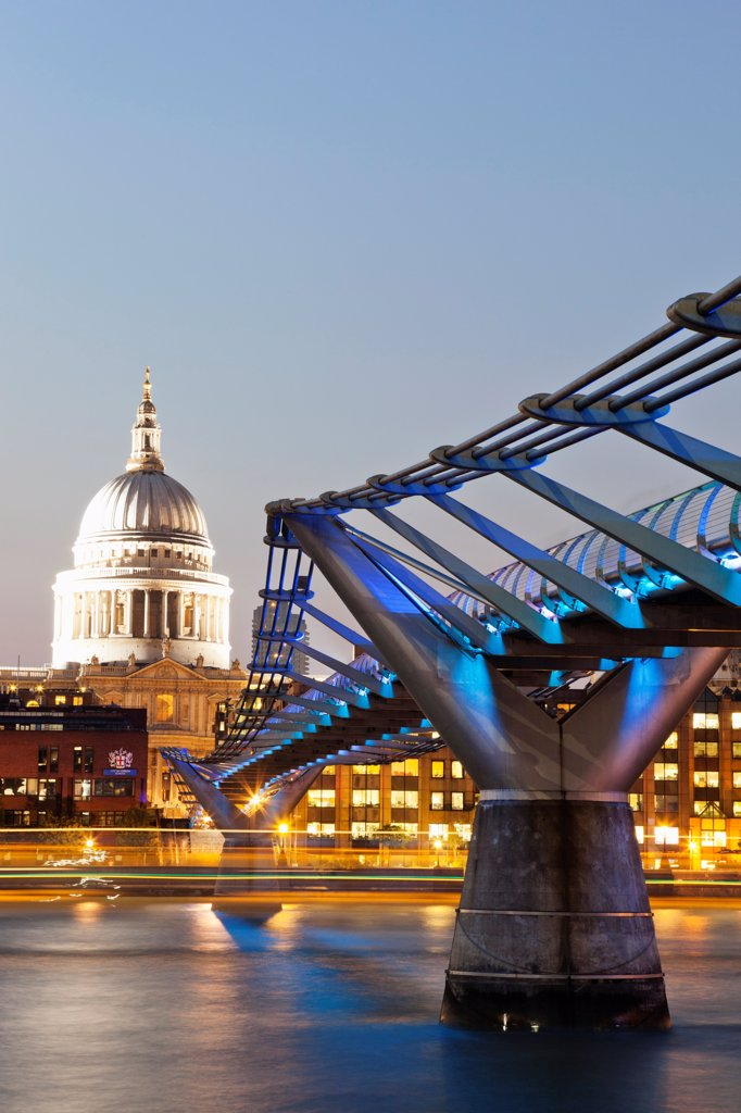 England,London,The City,St Pauls Cathedral and Millenium Bridge : Stock Photo