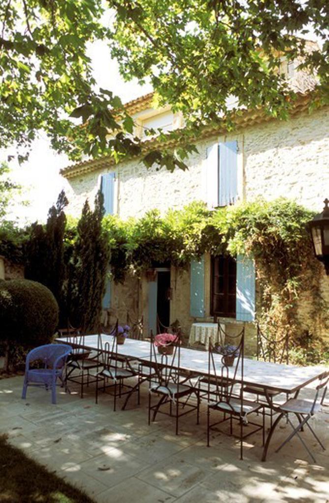Provencal Farmhouse Terrace With A Longue Table : Stock Photo