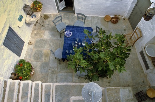 Greece, Serifos Island, Private Courtyard : Stock Photo