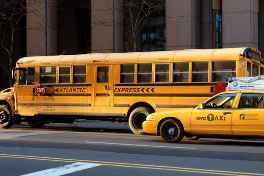 Stock Photo: 1606-193281 USA, New York City, Yellow Bus And Taxi