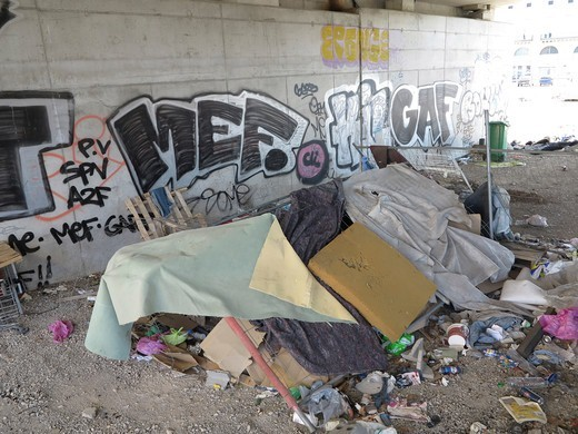 Stock Photo: 1606-194006 France. Herault. Montpellier. Downtown. Gare Sncf Saint Roch. Focus On Housing 'Fortune' Of A Homeless