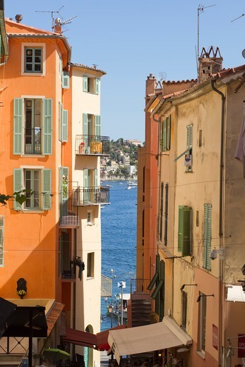 Stock Photo: 1606-194203 France, French Riviera, Villefranche Sur Mer Street