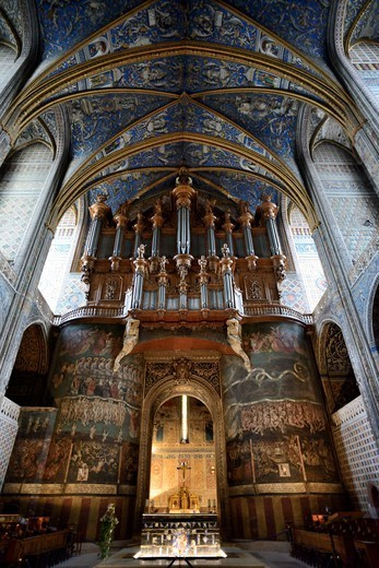 France, Albi, Cathedral Sainte Cecile, The Last Judgement And The Great Organ Case : Stock Photo