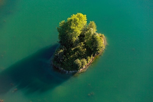 France, Landscape, Small Island Of Greenery, Woods, A Pond In The Middle Of (Aerial Photo) : Stock Photo