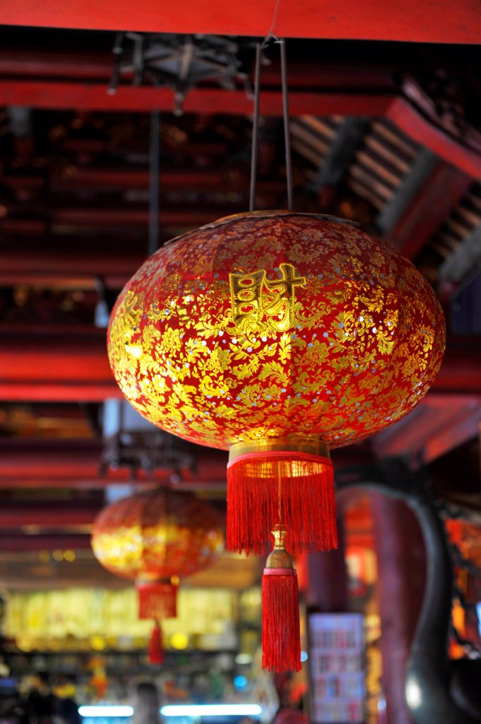 Stock Photo: 1606-195949 Lanterns Inside The Temple Of Literature In Hanoi, Vietnam, South East Asia, Asia