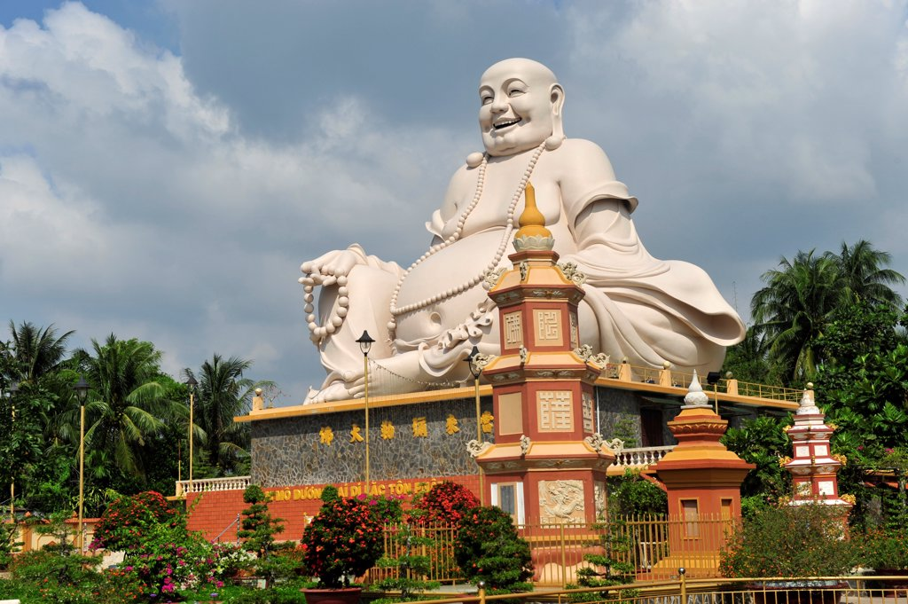 Happy Buddha Statue In Vinh Trang Temple Near My Tho, South Vietnam, Mekong Delta, South East Asia, Asia : Stock Photo