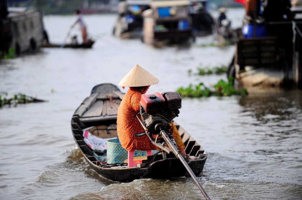 Stock Photo: 1606-196242 Cai Be Floating Market In Mekong Delta, Vietnam, South East Asia, Asia