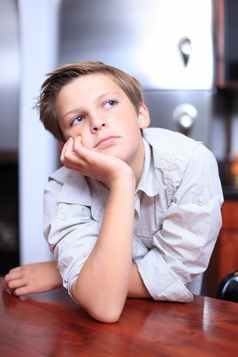 France, Boy At Home. : Stock Photo