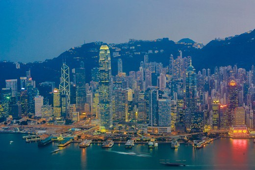 Stock Photo: 1606-197704 Hong Kong City, Kowloon And Central Hong Kong From Icc Bldg.