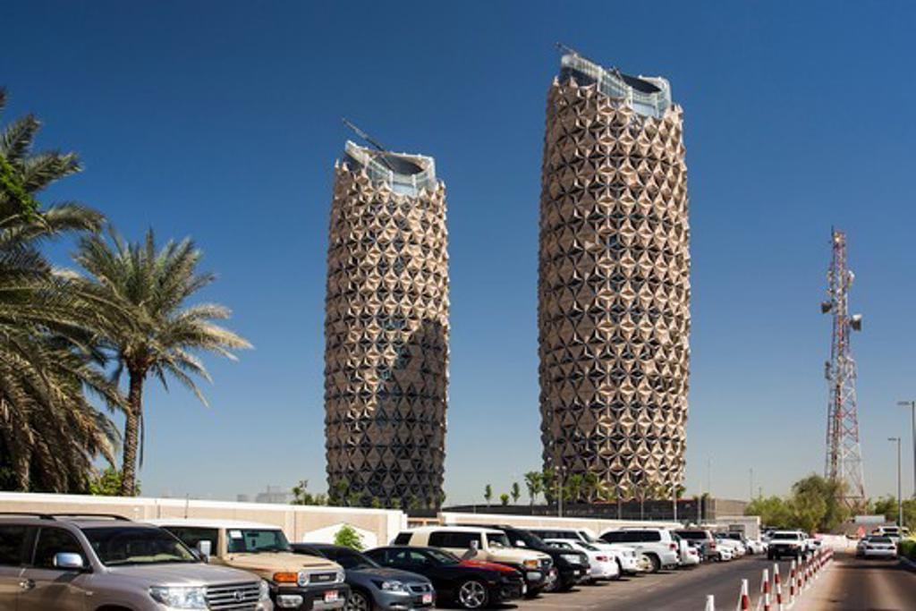 United Arab Emirates (Uae), Abu Dahbi City, Apartments Bldgs. Near Abu Dhabi University : Stock Photo