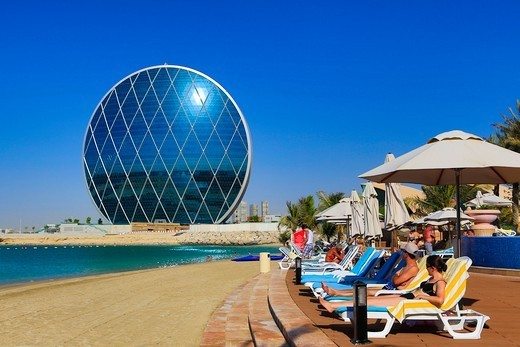 Stock Photo: 1606-197883 United Arab Emirates (Uae), Abu Dabi City, Al Raha Beach, Aldar Headquarters (Circular Bldg.)