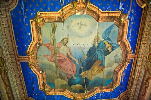 Painting Of The Ceiling,Orthodow Church,Skwirtne,The Trinity,Poland : Stock Photo
