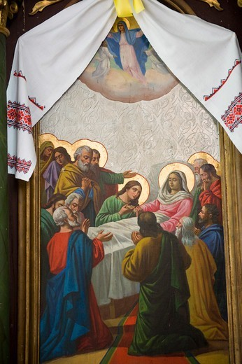 Stock Photo: 1606-198317 Death Of The Virgin,Church Of The Dormition Of The Virgin,Szczawne,Oslawa Valley,Poland