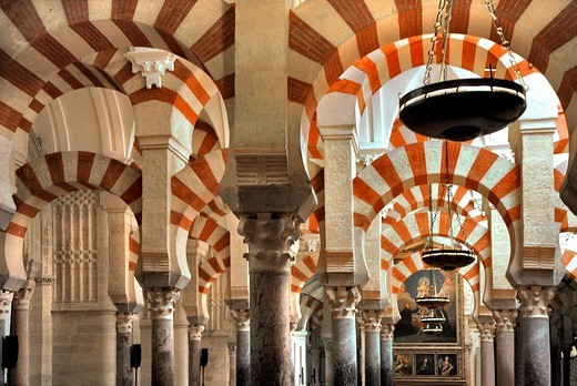 Stock Photo: 1606-198469 Spain, Andalusia, Cordoba City, Great Catholic Cathedral Of Córdoba, Prayer Hall, Islamic Architecture