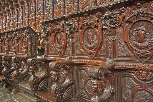 Stock Photo: 1606-198483 Spain, Andalusia, Cordoba City, Great Catholic Cathedral Of Córdoba, Carved Choir Stalls