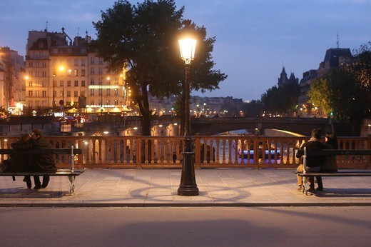 Pont Au Double At Night. Paris. France. : Stock Photo