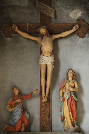 Golgotha Sculpture In A Catholic Church Verneuil-Sur-Avre. France. : Stock Photo