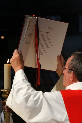 Stock Photo: 1606-198962 Catholic Mass - Deacon Raising The Gospel