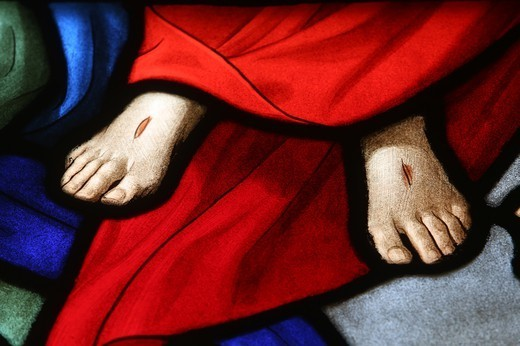 Holy Sacrament Church. Stained Glass Window. Christ'S Wounds Paris. France. : Stock Photo