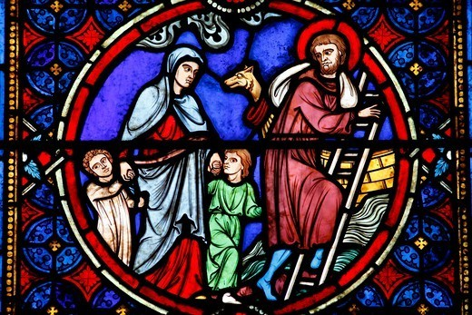 Stock Photo: 1606-199057 Notre Dame Cathedral, Paris. Stained Glass Depicting Noah Building His Ark Paris. France.