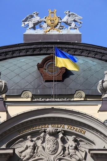 Ukraine, Kiev, Kyiv, National Opera, Ukrainian Flag, : Stock Photo