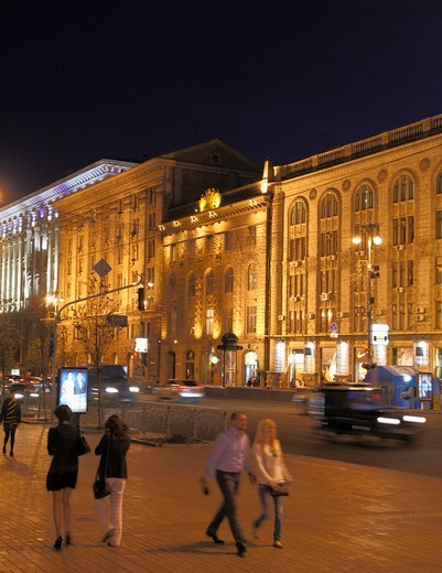 Stock Photo: 1606-199511 Ukraine, Kiev, Kyiv, Khreshchatyk Street, At Night,