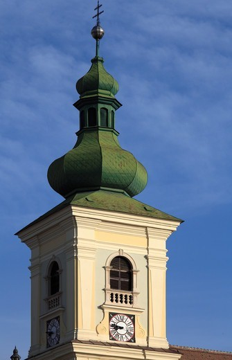 Romania, Sibiu, Piata Mare, Holy Trinity Catholic Church, : Stock Photo