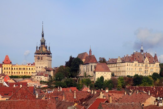 Stock Photo: 1606-199652 Romania, Sighisoara, Skyline, General View,