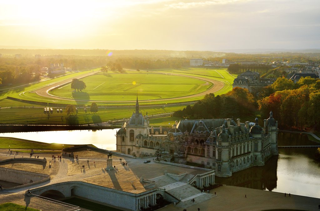 Stock Photo: 1606-200036 France, Picardie, Oise, Chantilly, Racecourse And Castle Of Chantilly, Aerial View