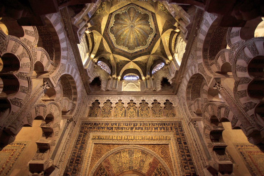 Spain, Andalusia, Cordoba,  Mezquita, Cathedral, Interior, Mihrab, : Stock Photo