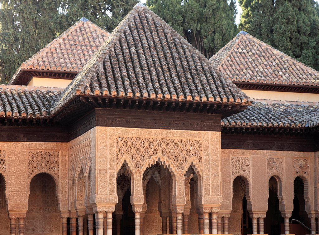 Stock Photo: 1606-200589 Spain, Andalusia, Granada, Alhambra, Patio De Los Leones,