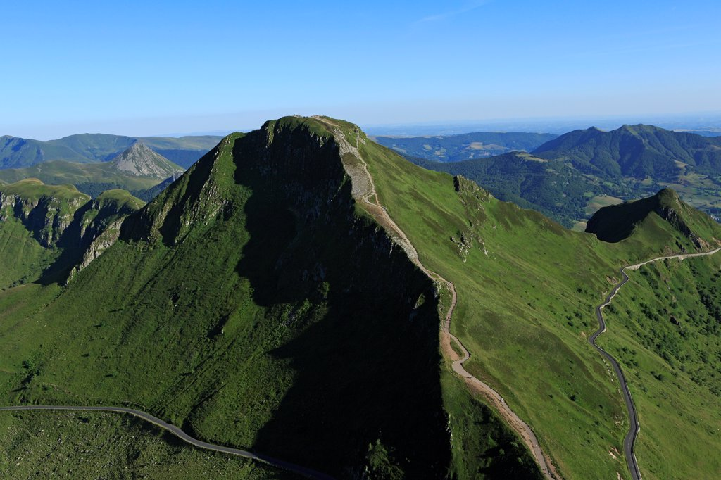 Stock Photo: 1606-201220 France, Cantal (15), Le Puy Mary Is A Vertex Of The Cantal Mountains, Remains The Largest Stratovolcano Of Europe. It Culminates At 1783 Meters Altitude, Grand National Site (Aerial Photo)