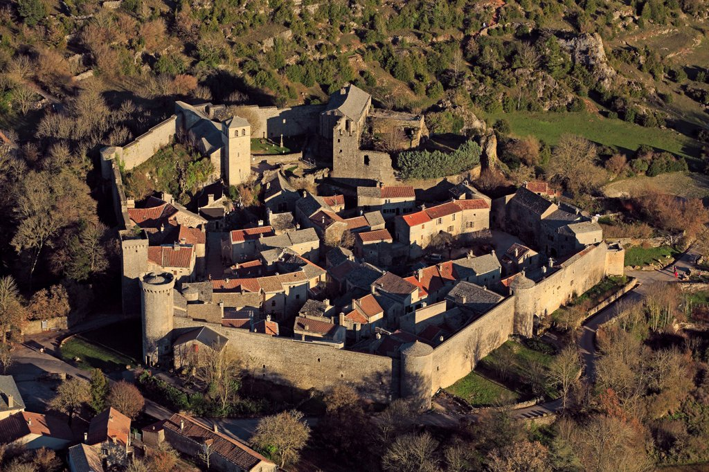 France, Aveyron (12), Couvertoirade Village Strengthens, Former Commander Of The Order Of The Temple, Located In The Regional Natural Park Of Causses And The Larzac Plateau, The Village Is Labeled Most Beautiful Villages Of France (Aerial Photo), : Stock Photo