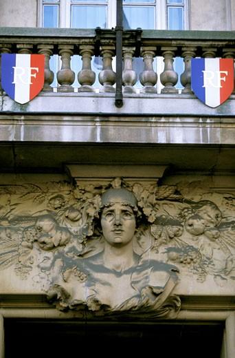 Stock Photo: 1606-20170 France, Paris, rue du Château d'Eau, Bourse du Travail, detail