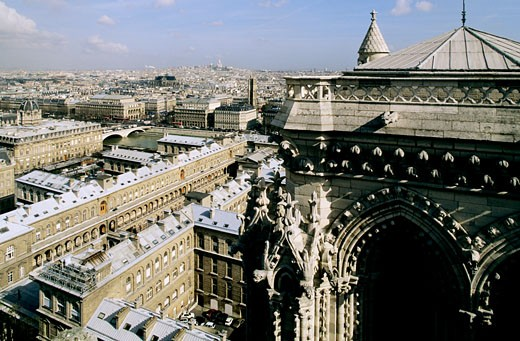 France, Paris, Notre Dame cathedral, Hotel Dieu view from above : Stock Photo