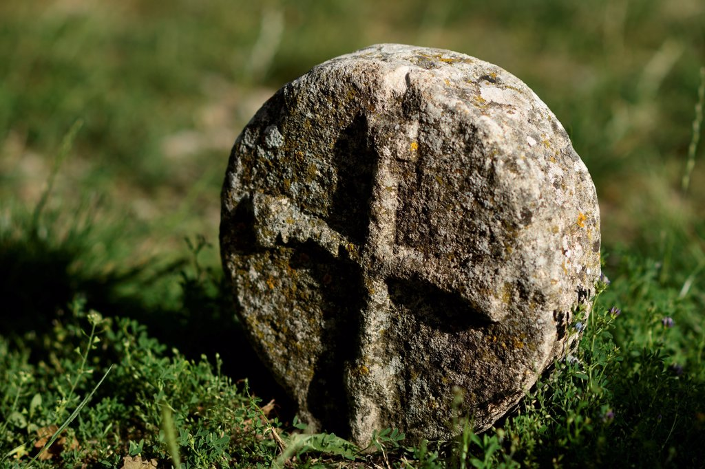 France, Larzac Templar Cross In La Couvertoirade. : Stock Photo