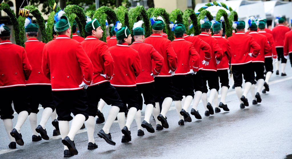 Bavarian Brass Band At The Traditional Costume Parade On Oktoberfest Parade In Munich, Germany : Stock Photo