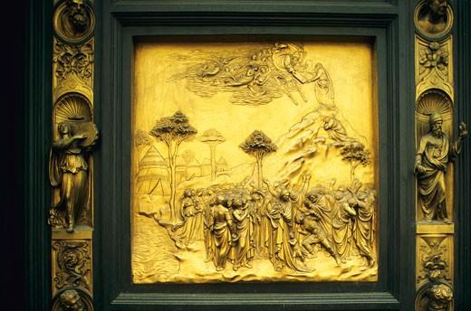 Italy, Firenze, baptistery, detail of the Eden Door : Stock Photo