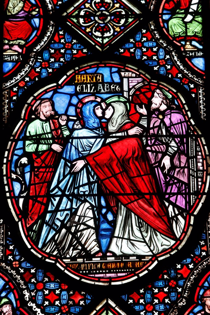 Stock Photo: 1606-206476 Stained glass in Notre Dame de Coutances cathedral : the Visitation Coutance. France.