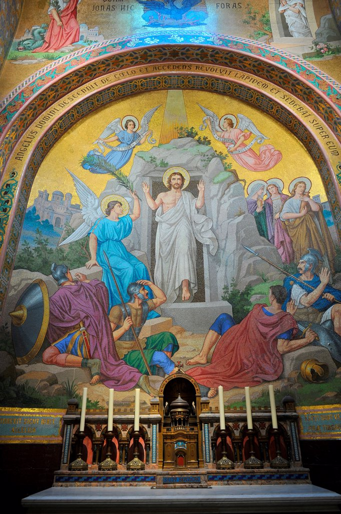 Stock Photo: 1606-206486 Fresco. Chapel of Notre-Dame-du-Rosaire's Basilica in the city of Lourdes. Lourdes. France.