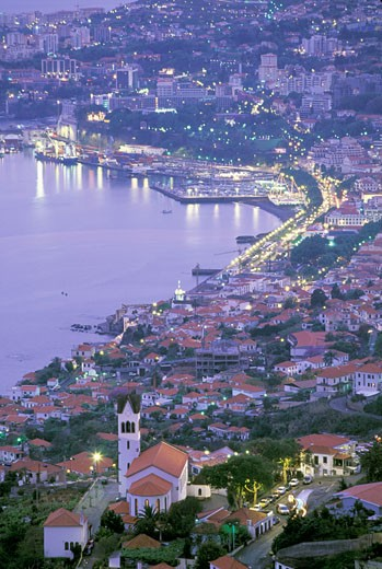 Portugal, Madère, Funchal, elevated view of enlighted city and bay, Sao Goncalo church : Stock Photo