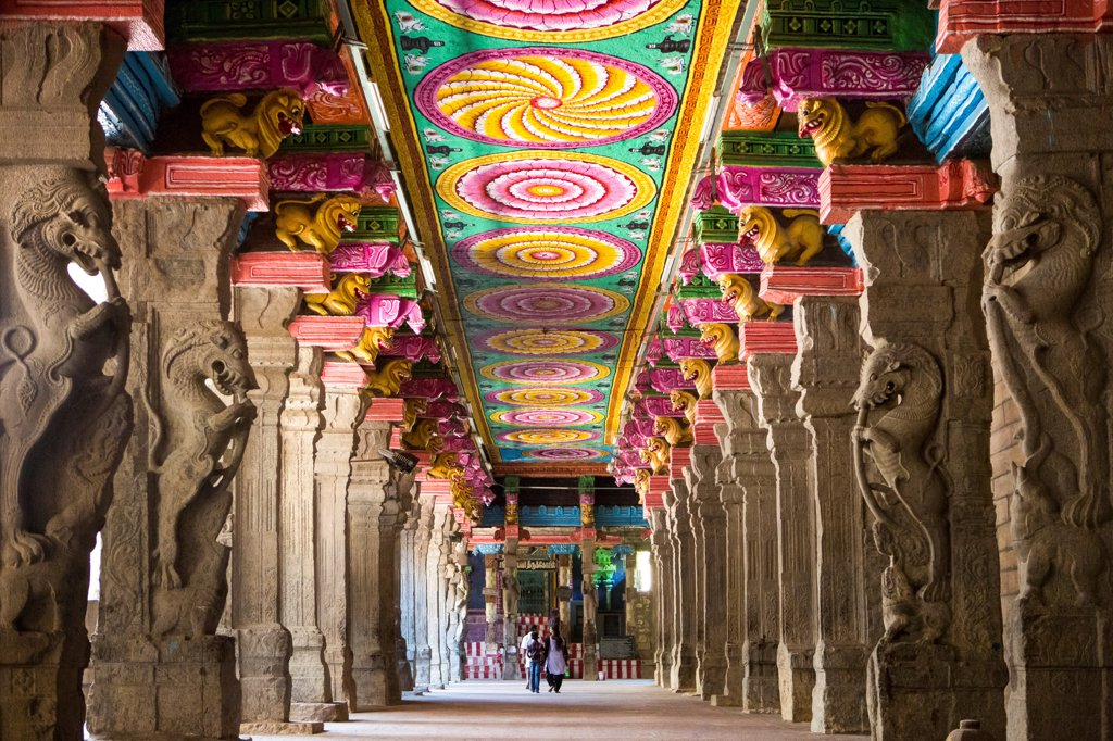 Stock Photo: 1606-210222 India, Tamil Nadu State Madurai City, Sri Meenakshi Temple, Thosand Pillars Hall