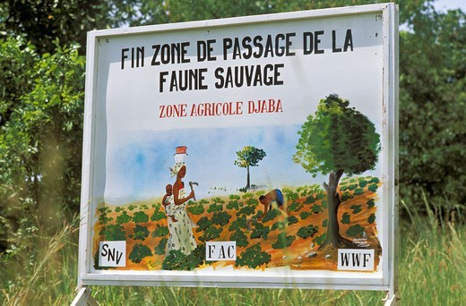 Stock Photo: 1606-215757 Cameroun, Garoua surroundings, close-up of sign for transition to wildlife.