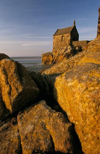 France, Normandy, Manche, Mont Saint Michel, St Aubert chapel : Stock Photo