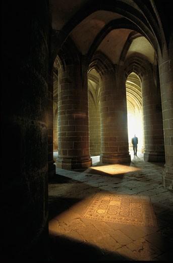 Stock Photo: 1606-21781 France, Normandy, Manche, Mont Saint Michel, abbey crypt