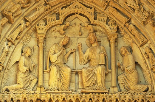 Stock Photo: 1606-21844 France, Centre-Val-de-Loire, Eure-et-Loir, Chartres cathedral, North portal, close-up of carved tympanum representing Virgin and Prophets