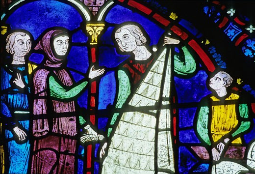 France, Centre-Val-de-Loire, Eure-et-Loir, Chartres cathedral, close-up of stained-glass windows of ambulatory (13th century), indoors : Stock Photo